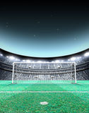 Floodlit Stadium Night. A generic seated soccer stadium showing a set of goals and penalty spot on a green grass pitch at night under illuminated floodlights vector illustration