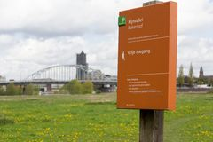 Floodplain area Rhine Valley with the background of the John Frost bridge in Arnhem Stock Photo