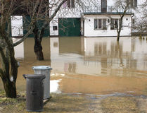 Floods. Willage house in flooded river Royalty Free Stock Image