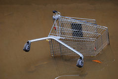 Floods. A photo taken on a trolley overturned after a flood in a drain Royalty Free Stock Photo