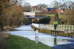 Floods in Bedfordshire England 2014 Royalty Free Stock Image