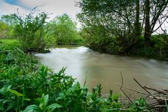 River in the Ukrainian countryside during a flood Royalty Free Stock Photography