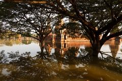 Floods Chaiwatthanaram Temple at Ayutthaya Stock Image