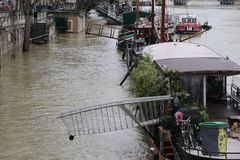 Floods in the city of Paris Stock Photos