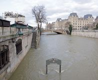 Floods of Paris, poster `Merci de votre visite` `Thank you for your coming ` feet in the water. Floods of the Seine, Paris Franc Royalty Free Stock Photos