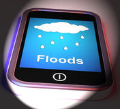 Floods On Phone Displays Rain Causing Floods And Flooding Stock Photo