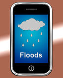 Floods On Phone Shows Rain Causing Floods And Flooding Stock Photo