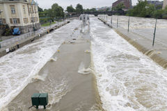 Floods Prague June 2013 - Stvanice island Lock overflowing Stock Photos