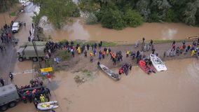 Floods rescue operation stock video