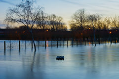 Floods  on river Tewkesbury Royalty Free Stock Photo