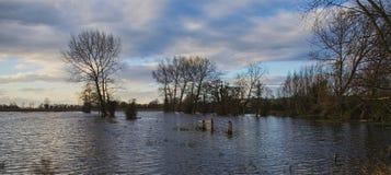 Floods  on river Tewkesbury Stock Image