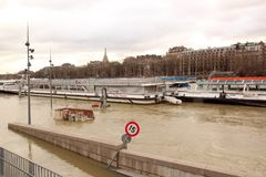 The floods of the Seine, Paris France. Boats fly in which, impossibility to navigate Stock Photo