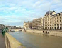 The floods of the Seine, Paris France. Floods Paris winter, 2018. Royalty Free Stock Photo