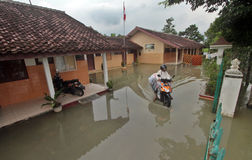 Floods soak a primary school in Sukoharjo Royalty Free Stock Image