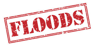 Floods stamp on white background. Floods red stamp isolated on white background Royalty Free Stock Photos