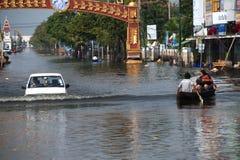 Floods in Thailand. AYUTTHAYA, THAILAND - NOVEMBER 5: Heavy flooding from monsoon rain in Ayutthaya and north Thailand arriving in Ayutthaya suburbs on November Royalty Free Stock Photography