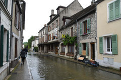 Floods on the town of moret sur loing Stock Images