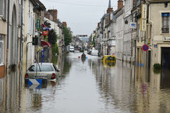 Floods on the town of nemours Royalty Free Stock Photos