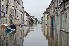 Floods on the town of nemours Stock Images