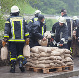 Floodwater Helper in Germany Stock Images