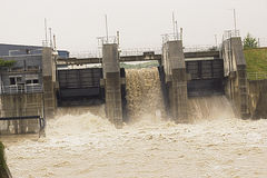 Floodwater through power station, Bosnia Stock Photography