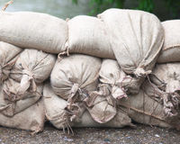 Floodwater  Sandbags Stock Image