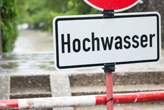Floodwater   sign show floodwater Royalty Free Stock Image