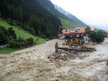 Floodwaters IV. Some impressions of the flood in Ischgl (Austria) in the year 2005 Royalty Free Stock Image