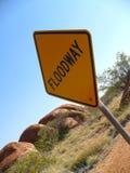Floodway unterzeichnen herein Australien Lizenzfreies Stockfoto