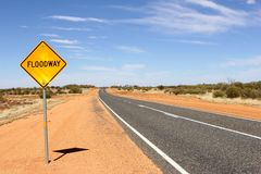 Floodway warning sign, Northern Territory, Australia Royalty Free Stock Photos