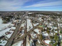 Floodwood, Минесота во время зимы в северной Минесоте стоковые фотографии rf