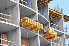 Floor beam on construction site work Stock Images