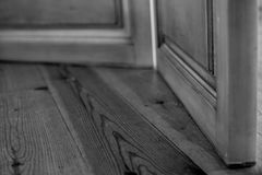 Floor black and white. Floor and a door black and white Stock Images