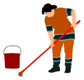 Floor care and cleaning services with washing mop in sterile factory or clean hospital. Cleaning lady service vector. Floor care and cleaning services with stock illustration