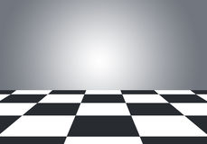 Floor with checkerboard texture and gray wall Stock Photos