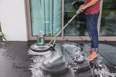 Floor cleaning with big machine Stock Photos
