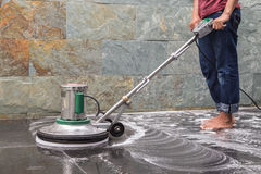 Floor cleaning with big machine Stock Images
