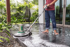 Floor cleaning with big machine Royalty Free Stock Photos