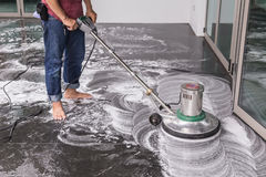 Floor cleaning with big machine Stock Image