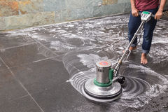 Floor cleaning with big machine Stock Photography