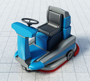 Floor cleaning machine isolated on white background. 3D illustration.  Stock Photo