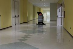 Floor cleaning machine with operator board royalty free stock image