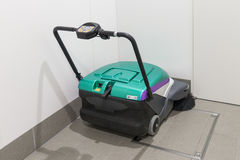 Floor cleaning machine in Shin-Hakodate-Hokuto station. HOKKAIDO,JAPAN-APRIL 19,2016: Floor cleaning machine in Shin-Hakodate-Hokuto station. It use emerald Stock Photography