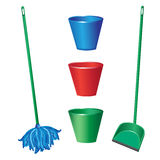 Floor cleaning objects Royalty Free Stock Image