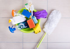 Floor cleaning supplies and equipment royalty free stock image