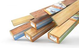 Floor coating. Laminate on the blurred floor. 3d illustration stock illustration