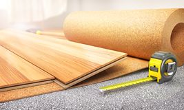 Floor coating. Laminate in the install process on the warming layer. 3d illustration stock images