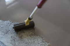 Floor covering with self leveling cement mortar. Mirror smooth s royalty free stock images
