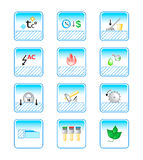 Floor coverings icons. Special characteristic of floor coverings in colorful icon-set Stock Photography