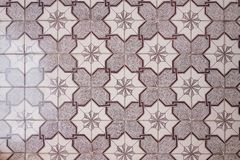 floor of decorative tiles purple triangular ceramic patterns stock image